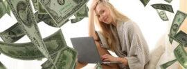a woman making money online